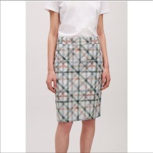 COS plaid cotton skirt size 8